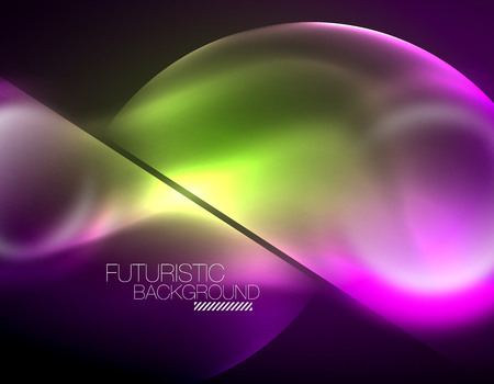 Blurred neon glowing round shapes, abstract circles and lights Vectores