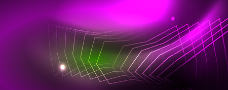 Techno glowing background, futuristic dark template with neon light effects and simple forms Stok Fotoğraf - 123301111