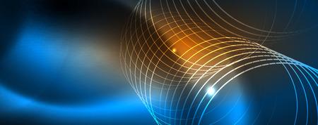 Neon glowing techno lines, hi-tech futuristic abstract background template Vektoros illusztráció