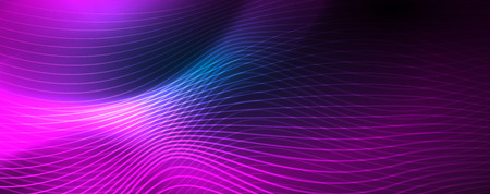 Smooth wave lines on blue neon color light background. Glowing abstract wave on dark, shiny motion, magic space light. Vector techno abstract background, blue color