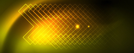 Techno glowing background, futuristic dark template with neon light effects and simple forms, vector