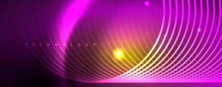 Bright neon circles and wave lines, glowing shiny background design template, digital techno concept. Illustration