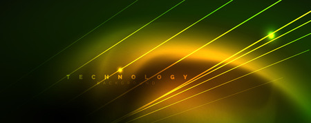 Vector neon light lines concept, abstract background, future techno hi tech template