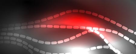 Neon vector wave lines abstract background, magic futuristic techno design