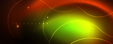 Bright neon circles and wave lines, glowing shiny background design template, digital techno concept. Ilustração
