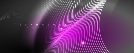 Shiny neon lights, dark abstract background with blurred magic neon light curved lines. Vector
