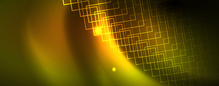 Techno glowing background, futuristic dark template with neon light effects and simple forms
