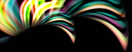 Fluid color rainbow style wave abstract background, techno modern design on black. Vector Çizim
