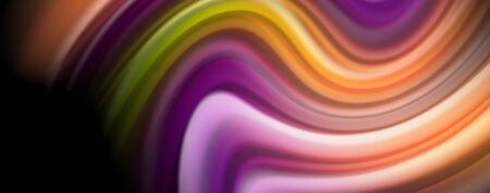 Modern rainbow liquid color flow colorful poster. Wave Liquid shape in black color background. Abstract composition Çizim