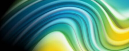 Modern rainbow liquid color flow colorful poster. Wave Liquid shape in black color background. Abstract composition Stock Illustratie