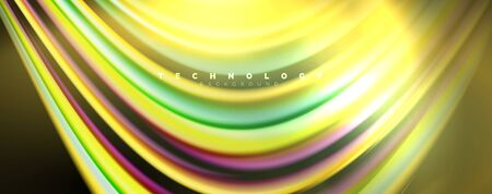 Fluid color rainbow style wave abstract background, techno modern design on black. Vector  イラスト・ベクター素材