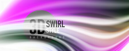 Glossy colorful liquid waves abstract background,, modern techno lines Illustration