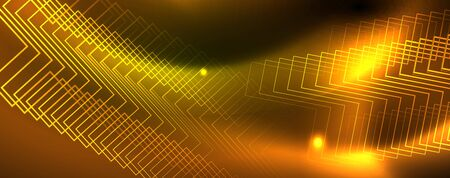 Techno glowing background, futuristic dark template with neon light effects and simple forms Çizim