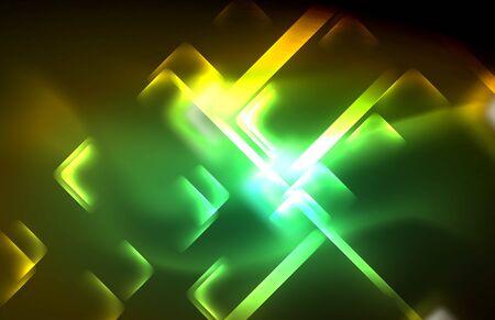 Neon shiny light lines on black, techno modern template, modern design Archivio Fotografico - 125080598