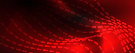 Smoky glowing waves in the dark. Dark abstract background with neon color light and wavy lines