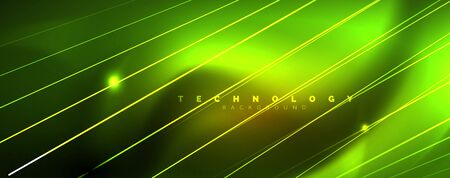 Shiny color neon light with lines, abstract wallpaper, shiny motion, magic space light. Vector techno abstract background Archivio Fotografico - 125080615