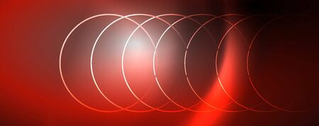 Shiny neon lights, dark abstract background with blurred magic neon light curved lines. Vector Archivio Fotografico - 125080617