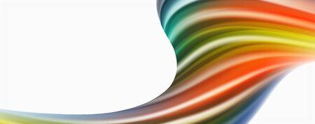Modern techno Fluid color flow on white colorful poste. Vector art for your design Ilustração