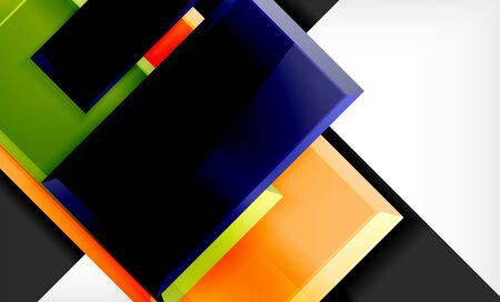 Color squares futuristic abstract background, vector futuristic blocks colorful design Ilustração