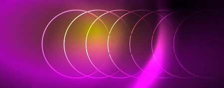 Bright neon circles and wave lines, glowing shiny background design template, digital techno concept. Luminous swirl trail, slow shutter speed effect.