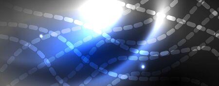 Fondo abstracto de líneas de onda de vector de neón, diseño de techno futurista mágico, concepto de movimiento vectorial