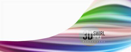 Modern techno Fluid color flow on white colorful poste. Art for your design Ilustração
