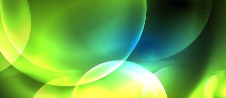 Blue neon bubbles and circles abstract background, futuristic magic techno design, vector