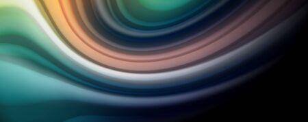 Linee d'onda astratte strisce di colore stile arcobaleno fluido su sfondo nero. Illustrazione artistica vettoriale per presentazioni, sfondi per app, banner o poster Vettoriali