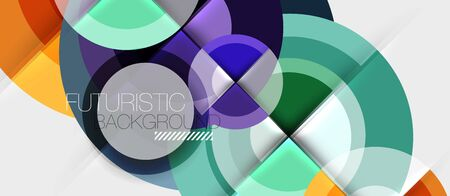Circular geometrical design template, vector business presentation wallpaper Vettoriali