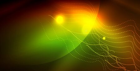 Color neon lights with waves abstract background. Vector illustration 写真素材 - 127195949