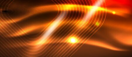 Neon square shapes lines on glowing light background, vector design