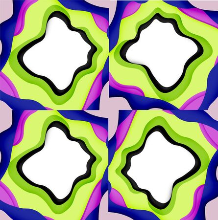 Abstract cut out abstract waves for web design. Color geometric pattern. Vector abstract geometric dynamic pattern frame. Vector line pattern, abstract texture. 3d paper layers Ilustrace