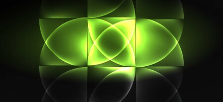 Neon glowing techno lines, hi-tech futuristic abstract background. Template with abstract shapes in dark space