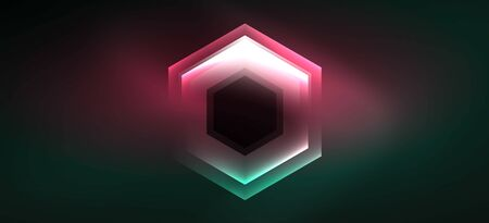 Shiny hexagon neon template. Futuristic digital technology concept. Vector abstract graphic design.