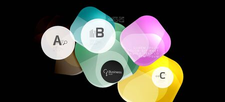 Retro colorful geometric background - circles on black, great design for any purposes. Creative minimal concept