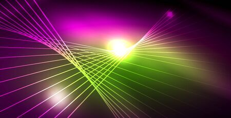 Shiny neon space background, vector template