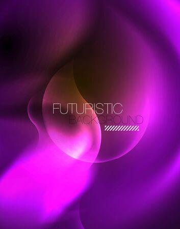 Shiny neon geometric waves template, vector
