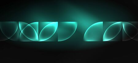 Neon glowing techno lines, hi-tech futuristic abstract background. Template with abstract shapes in dark space, vector illustration