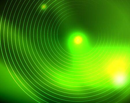 Neon circles abstract background, vector template Фото со стока - 128303920
