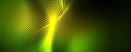 Shiny neon vector wave line abstract background, motion concept Ilustração