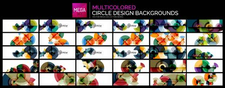 Mega collection of multicolored circle shapes design backgrounds. 일러스트
