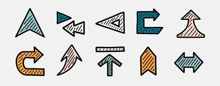 Set of hand drawn arrows. Direction, navigation, download, location, pointer and other concepts vector icons