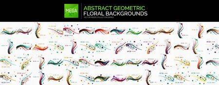 Mega set of geometric abstract wave floral design backgrounds. Flowers, petals, leaves and curve stems on white background Иллюстрация