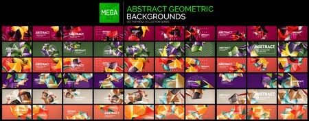 Mega collection of geometric polygonal shapes backgrounds. Multicolored geometrical triangle elements connected to each other on color backdrop. Modern template with copyspace