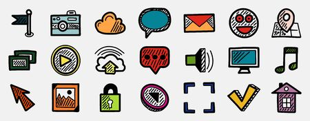 Set of multicolored hand drawn internet icons, web concepts isolated on white