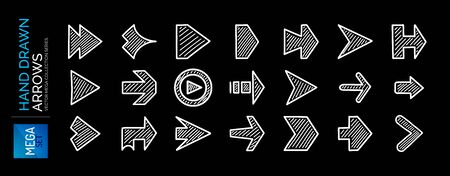 Mega set hand drawn arrow icons. Right, next directional pointers. White color on black. Doodle arrow buttons