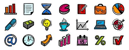 Set of color hand drawn business icons. Charts, graphs, clock, pen, light bulb idea, email, percent, date, growth, target and other concepts. Sketch doodles Ilustração