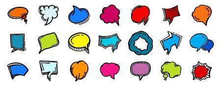 Set of hand drawn speech bubbles Stock Illustratie