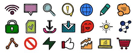 Set of hand drawn color web internet icons wifi, speech bubble, magnifier, pencil, lock, email, stop and other symbos. Vector sketch style design