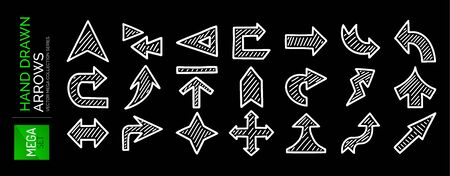 Mega set of hand drawn arrows. Direction, navigation, download, location, pointer and other concepts vector icons Illusztráció